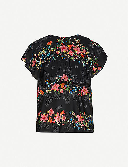 RED VALENTINO Floral-print ruffled silk-crepe blouse