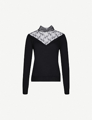 RED VALENTINO Floral lace-panelled wool jumper