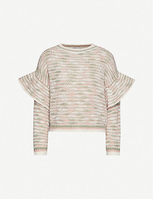 RED VALENTINO Striped stretch-knit jumper