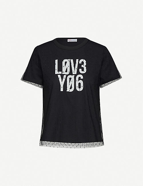 RED VALENTINO Text-print cotton-jersey and tulle T-shirt