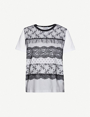 RED VALENTINO Lace-overlay cotton-jersey T-shirt