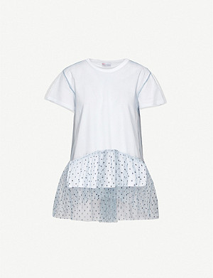 RED VALENTINO Sequin-embellished sheer-overlay cotton-jersey T-shirt