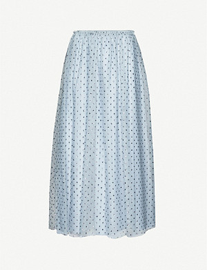 RED VALENTINO High-waist ruffled-trim glitter-embellished tulle midi skirt