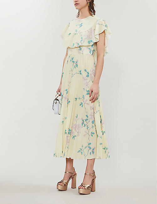 RED VALENTINO Floral-print ruffled crepe mini dress