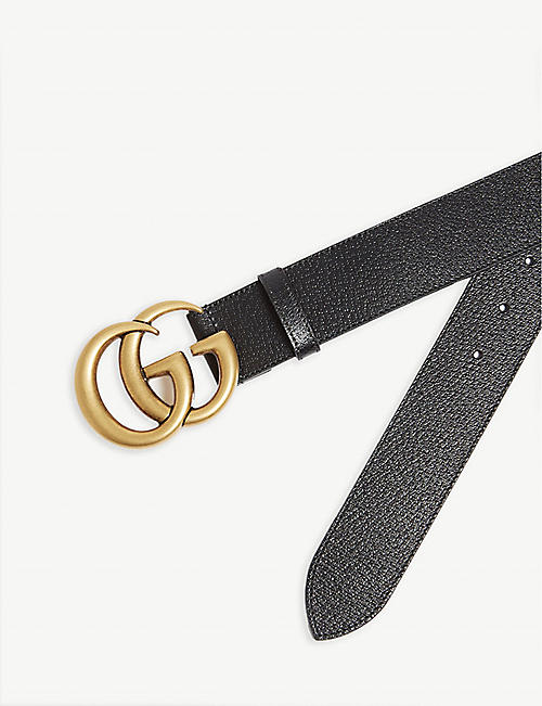 GUCCI GG logo leather and suede belt