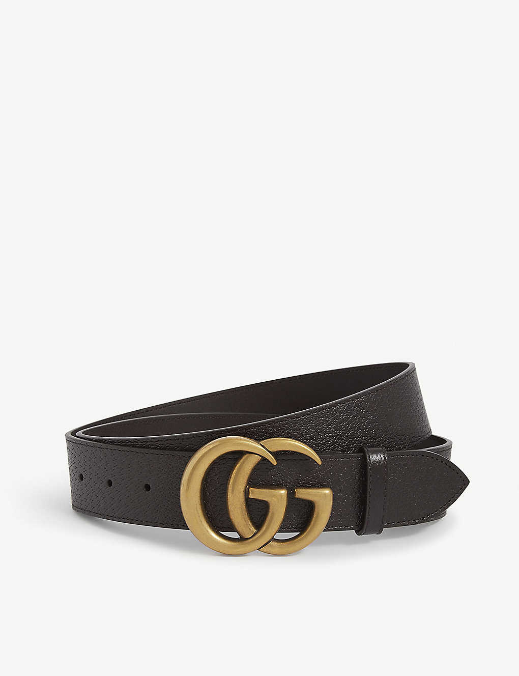 GUCCI: GG logo leather and suede belt