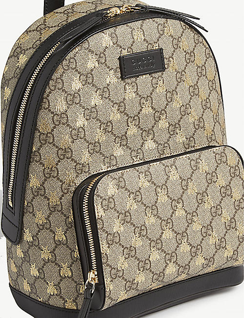 GUCCI Bee-print canvas backpack
