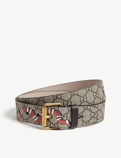 GUCCI Snake GG Supreme leather belt