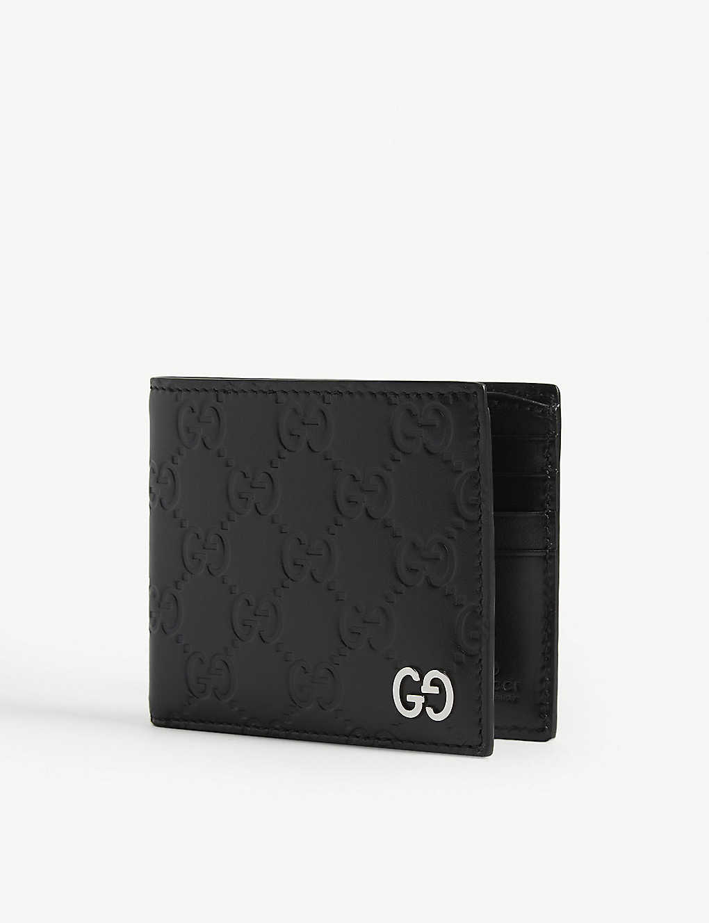 GUCCI: Dorian Signature embossed leather bifold wallet