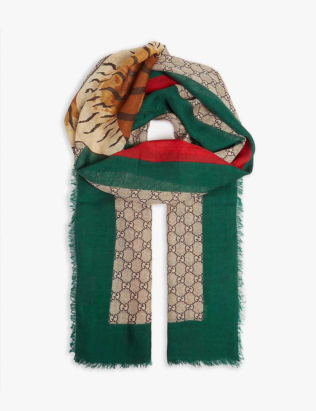 45fe4e148 GUCCI - Tiger GG print wool scarf | Selfridges.com