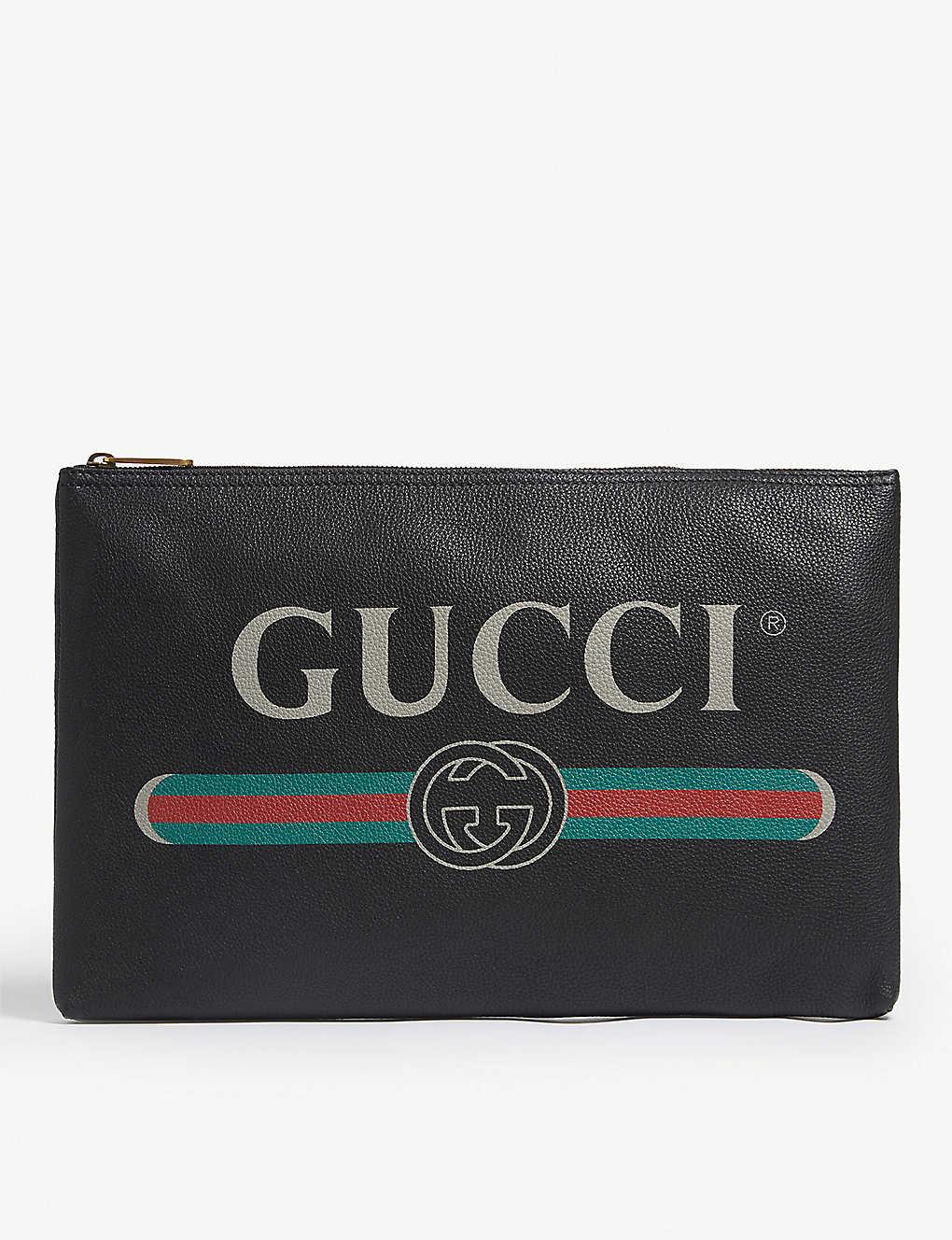 18a335a7c30 Logo-front leather pouch - Black ...