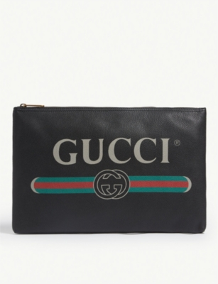 GUCCI Logo-front leather pouch