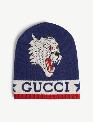64830d3b34e GUCCI Tiger applique knitted wool beanie