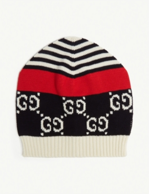 GUCCI Logo-intarsia cotton-knit beanie