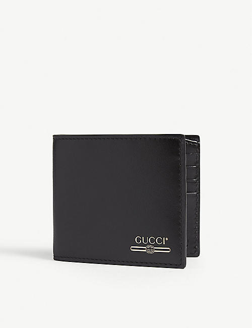 GUCCI Gold print logo leather billfold wallet