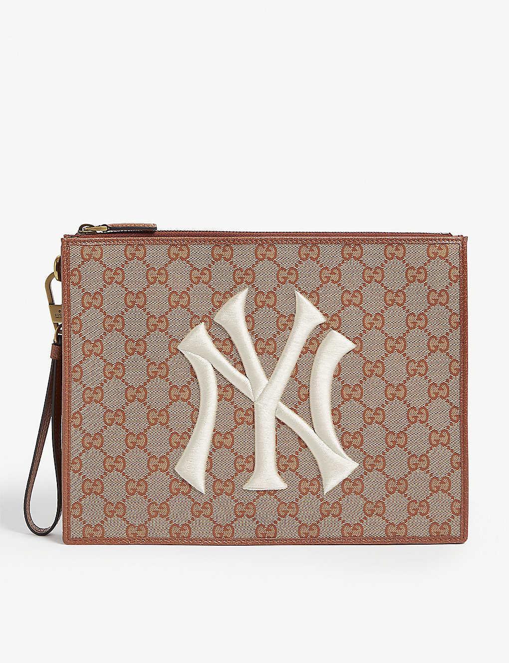 d25b93b8a GUCCI - NY Yankees canvas pouch | Selfridges.com