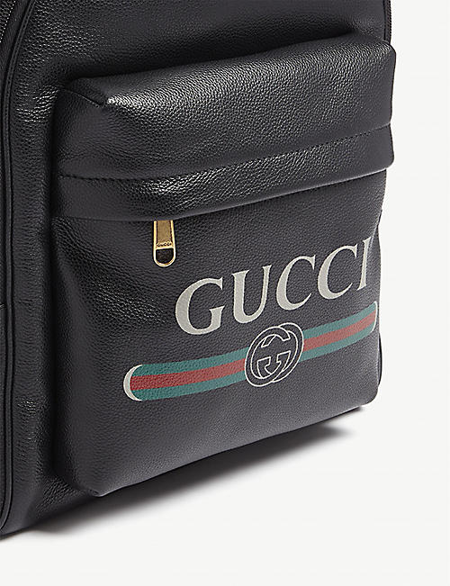GUCCI Logo-print leather backpack