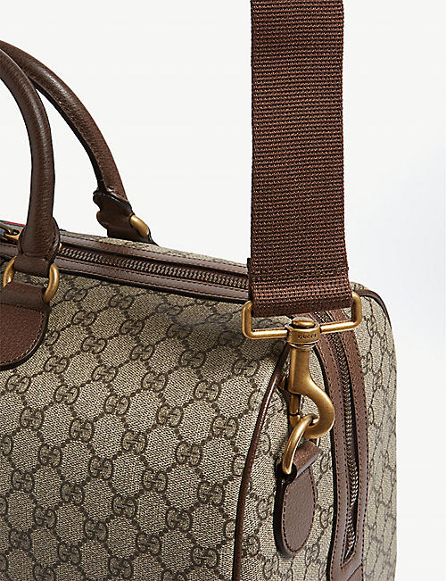 GUCCI GG Supreme logo-print canvas and leather holdall