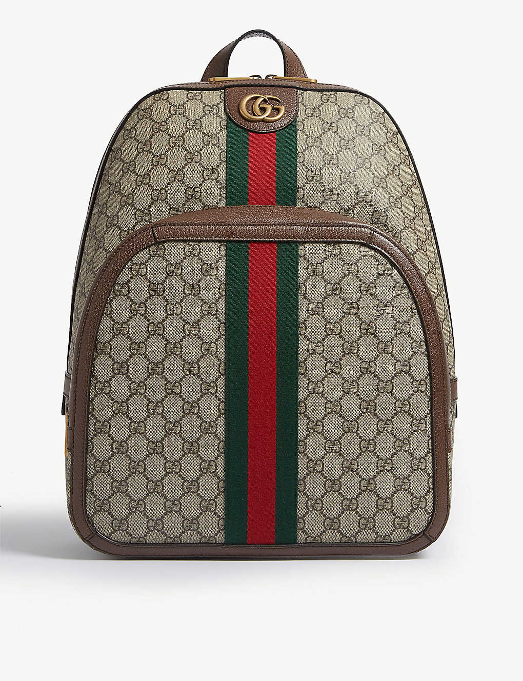 bf226e332cf2 GUCCI - GG Supreme canvas and leather backpack | Selfridges.com