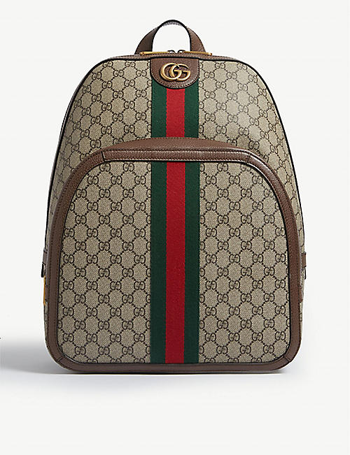 10de4ec0af9 GUCCI GG Supreme canvas and leather backpack