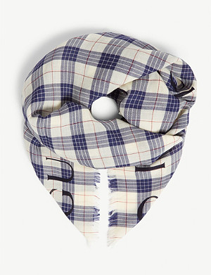 GUCCI Band check wool scarf