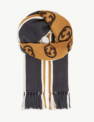 GUCCI Football striped cotton scarf