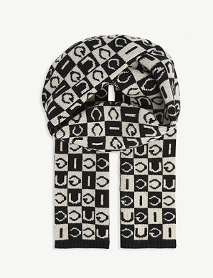 GUCCI Checkered logo wool scarf