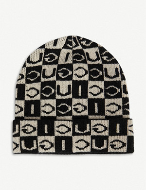 GUCCI Checkerboard wool beanie hat