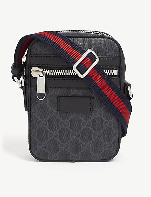 GUCCI Supreme logo canvas flight bag