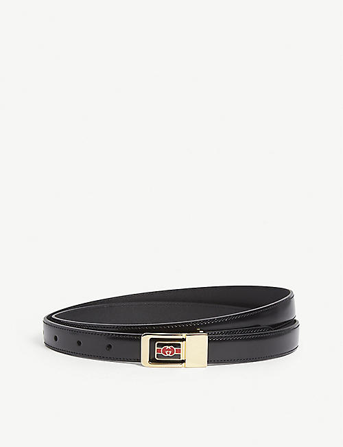 GUCCI GG plaque leather belt