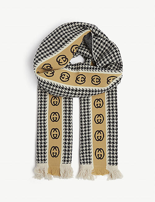 GUCCI Houndstooth logo scarf