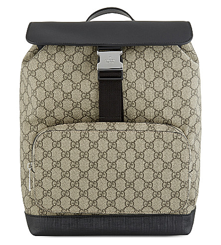 01accb32dd81 GUCCI - GG supreme leather   canvas backpack
