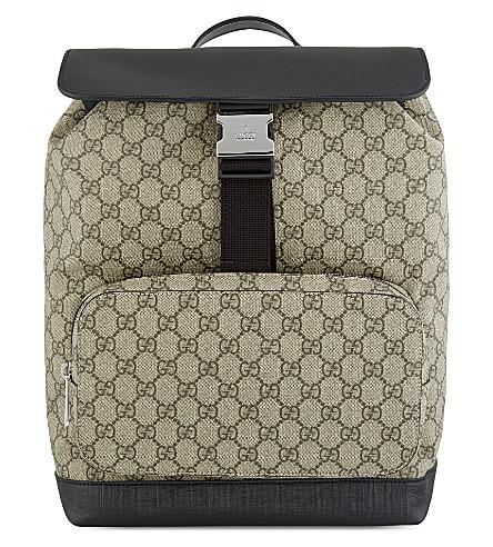 4b3588daf309 GUCCI - GG supreme leather   canvas backpack