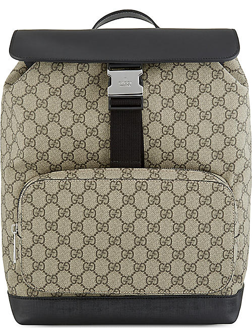 GUCCI - GG supreme leather   canvas backpack  88760a1b4df52
