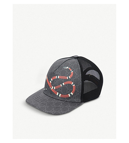 e19da6c1946 GUCCI Kingsnake GG Supreme canvas and mesh baseball cap (Black