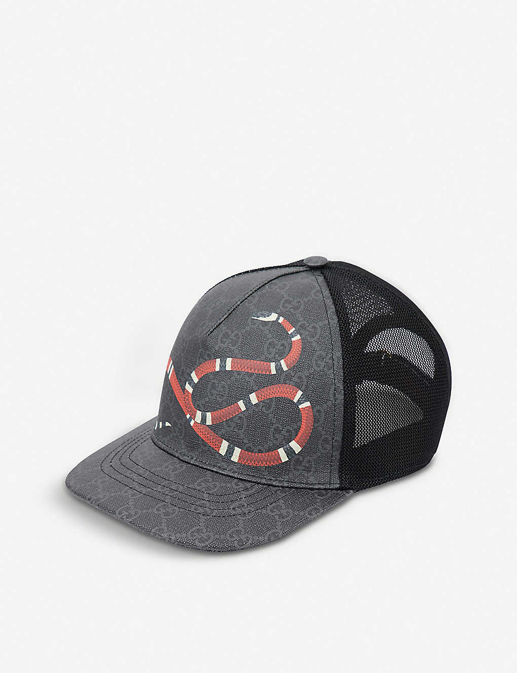 8376483f3e26d GUCCI - Kingsnake GG Supreme canvas and mesh baseball cap ...