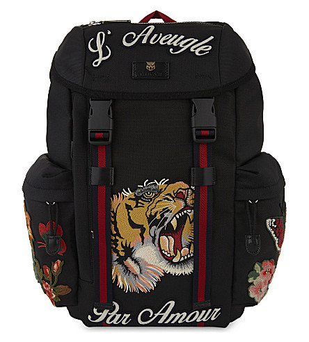 ba52ff925266 GUCCI - Tiger embroidered backpack