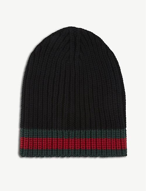 1d1bcc52 GUCCI - Striped knitted wool beanie | Selfridges.com