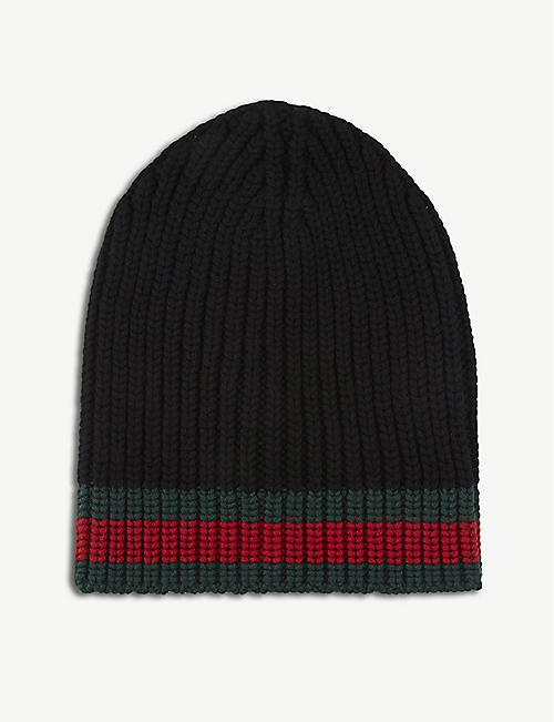 GUCCI: Striped knitted wool beanie