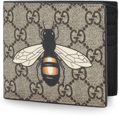 GUCCI Supreme bee leather billfold wallet