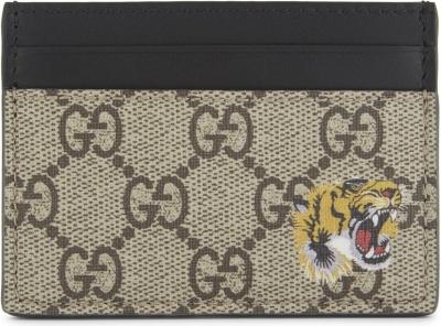 3123d9c005c GUCCI - Gold print logo leather cardholder