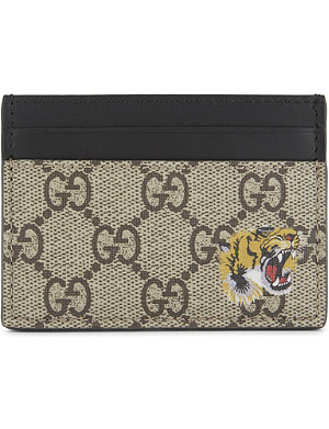 328d84cf52dc GUCCI - Bestiary GG Supreme card holder | Selfridges.com