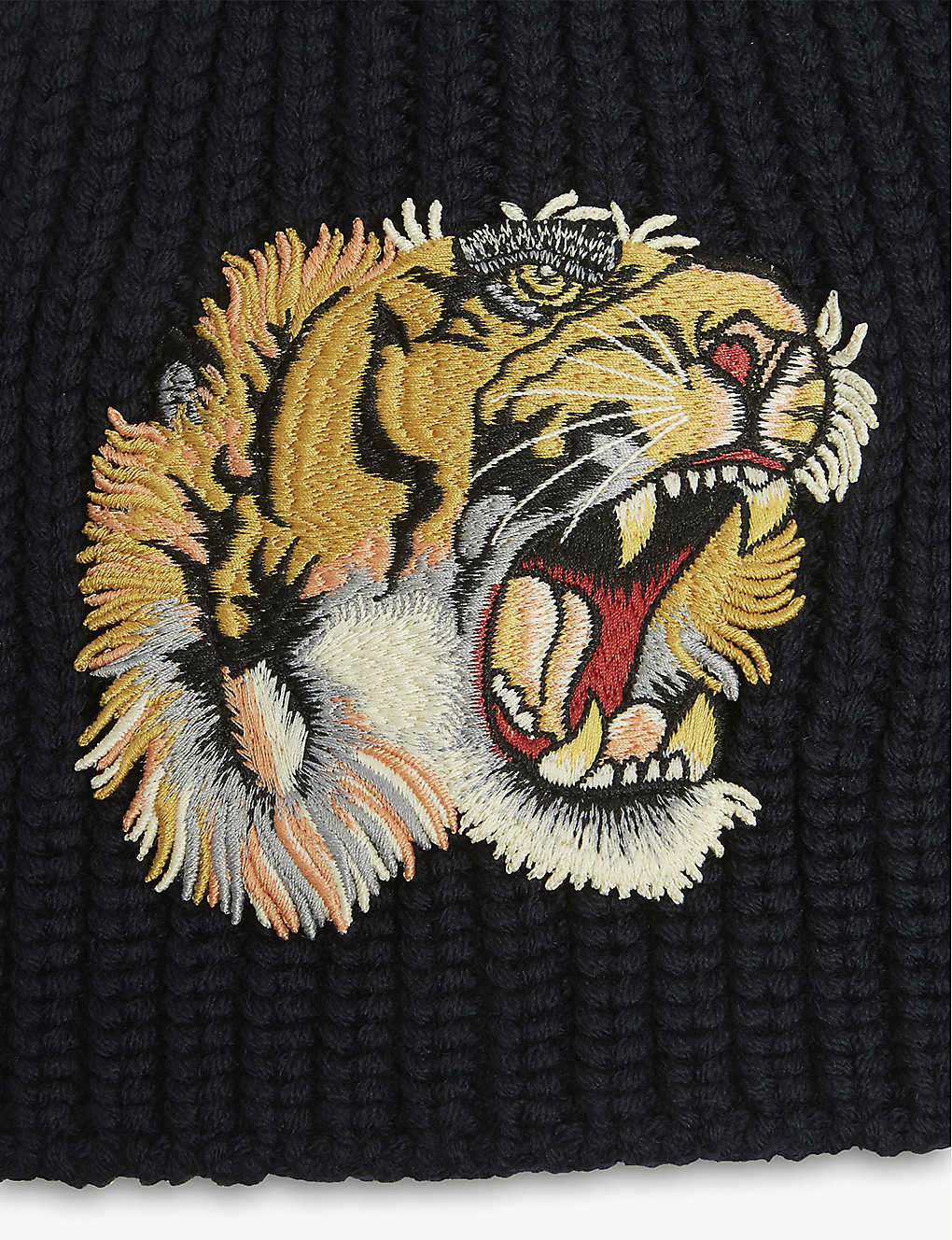 557d4719a1d ... Tiger patch knitted wool beanie - Mid blue ...
