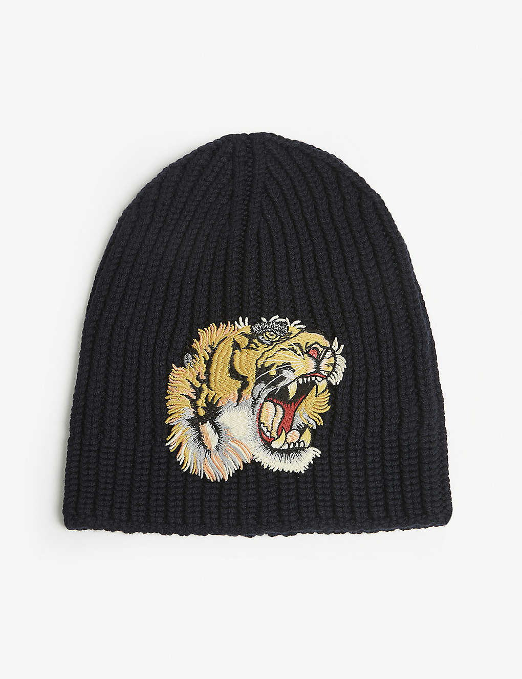3f8bb8033a63f Tiger patch knitted wool beanie - Mid blue ...