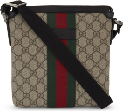 GUCCI Web stripe Supreme canvas messenger bag