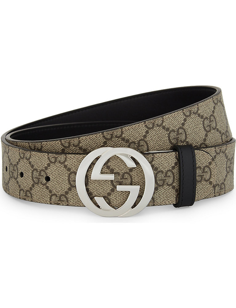ae34c246d GUCCI - Reversible GG Supreme buckle belt | Selfridges.com
