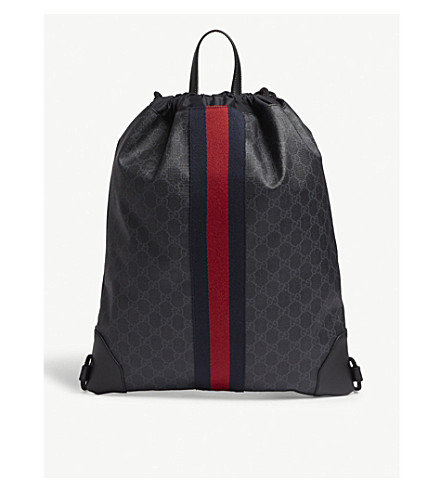 f5780b5ec6c Gucci Web Stripe Leather Drawstring Bag, Black   ModeSens