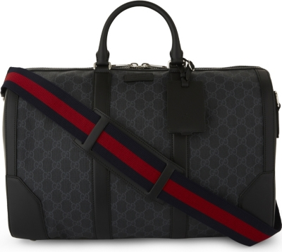 GUCCI Supreme canvas and leather duffle bag