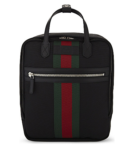 b01d0cf95d7 GUCCI Web stripe techno canvas backpack (Black