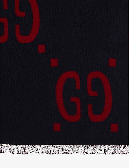 GUCCI GG wool and silk scarf